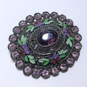 Rhinestone & enamel domed vintage brooch pin